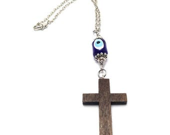 Evil eye cross charm rearview mirror - car hanger - Protection & Good Luck -