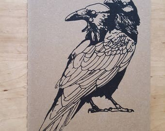 Vertical Two Headed Raven