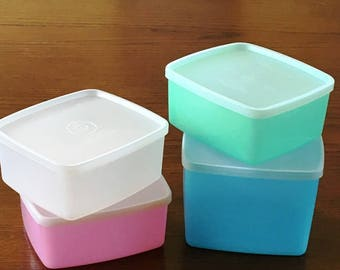 Square Round Tupperware Containers, Vintage Pastel Tupperware,  Tupperware Containers 311, 312, Seal 310, 1960s Vintage Tupperware