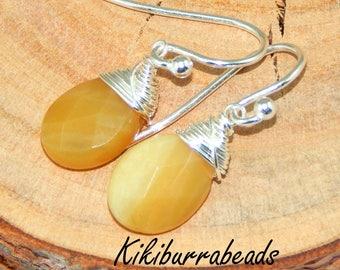 Yellow Opal Earrings,Wire Wrapped Yellow Dendretic Opal Earrings,Sterling Silver