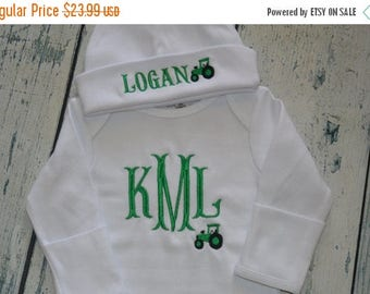 ON SALE Personalized Infant Gown and Hat set Monogrammed Coming Home Outfit  Tractor