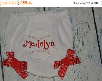 ON SALE Personalized Baseball Bloomers Monogram Bloomer Diaper Cover