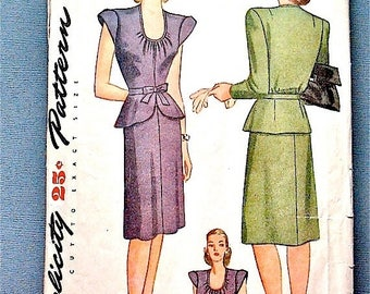 ON SALE Vintage early 1940s sewing pattern from Simplicity 1172.  Bust 32 inches.