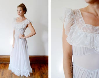 1950s Long Sheer Blue Nightgown - S