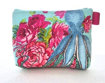 Octopus Fabric Gadget Pouch Small Cosmetic Bag Fabric Zipper Pouch Makeup Bag Neptune & the Mermaid Tokyo Milk Turquoise Pink Roses
