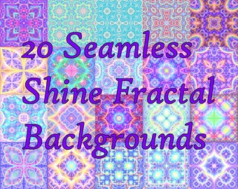 Seamless Shining Astral Fractal Backgrounds - Digital Paper Set -  20  Files - Commercial Use