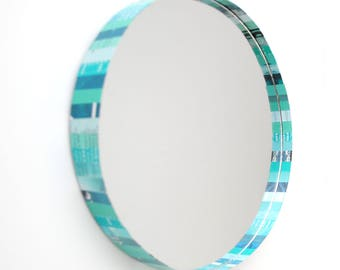 CLEARANCED teal round mirror- made from recycled magazines, circle, strips of paper, bright, multi-colored, art,design, interior designer