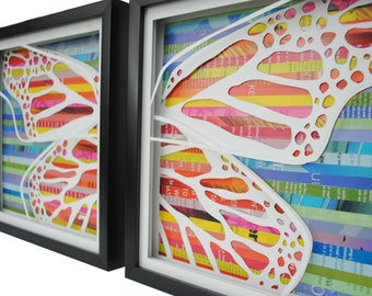 pair of BUTTERFLY wings - shadowboxes made from recycled magazines, spring, colorful, butterflies,unique,warm and cool colors,girls room,fun