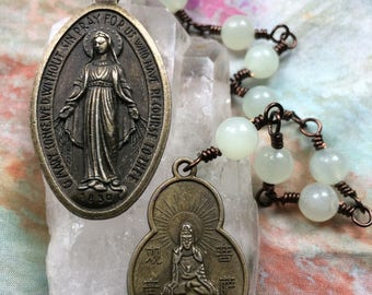 Two Mothers, One Heart Chaplet in Semi Precious Serpentine and Antiqued Brass