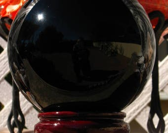 Large Obsidian Scrying Sphere~Divination~Includes Stand