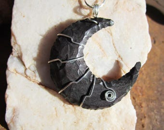 Jasper Crescent Moon in Sterling Silver Wire Wrap~Ritual Jewelry~Hand Knapped~Witch Jewelry