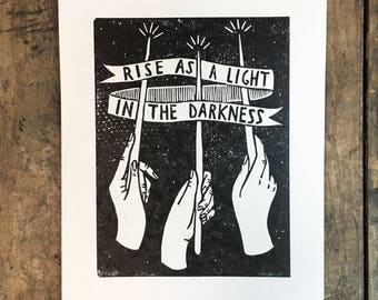 Rise as a Light in the Darkness   Harry Potter inspired linoleum print
