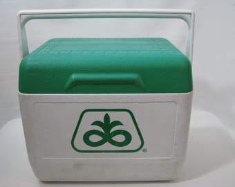 Vintage Pioneer Seed Corn Gott Tote 6 Personal Cooler Ice Chest Beer Picnic Green Lunch Box 1806