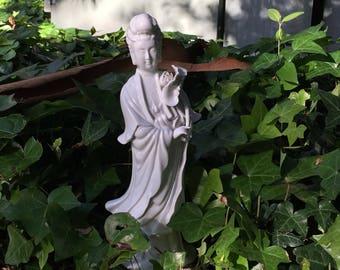 Vintage Kwan Yin Statue - Tall, White, Porcelain - Guan Yin, Quan Yin, Guanyin - From Japan