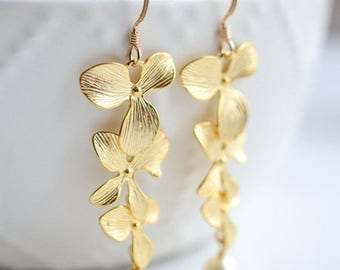 ON SALE Bridesmaid Jewelry Set of 5 Gold Triple Orchid Wedding Earrings