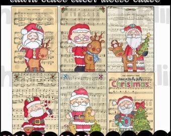Santa Claus Sheet Music Cards - Immediate Download