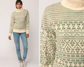 Turtleneck Sweater Striped Sweater 80s Ski Sweater Boho Geometric Fair Isle Pullover Jumper Cream Green Vintage Knit Funnel Neck Medium