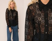 Black Lace Blouse Sheer Shirt Boho 70s Party Romantic Formal Blouse Hipster Top Button Up Gothic Bohemian 1970s Vintage Goth Small