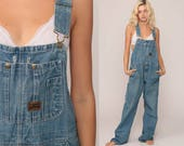 Overalls Pants Bib 90s Denim Pants Jean Dungarees Distressed Wide Leg Baggy Coveralls Long Grunge Hipster Blue Carpenter Large