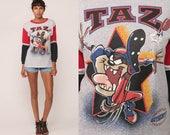 Looney Tunes Shirt TAZ Shirt Football Tshirt Long Sleeve Cartoon Animal Tasmanian Devil Sports 90s Graphic Tee Vintage T Shirt Small Medium