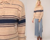 Striped Sweater 70s Polo Grunge Knit Retro Stripe Print Slouchy 80s Vintage Tan Blue Pullover Jumper Button Up Medium
