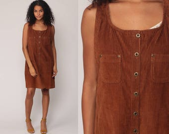 CORDUROY Dress Jumper Button Up Mini 90s Grunge Brown Preppy Pinafore Overall Pocket 1990s Vintage Sleeveless Normcore Large