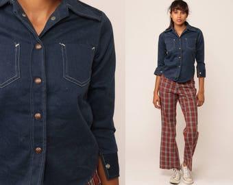 Denim Shirt 70s Dark Blue Jean Button Up Denim Boyfriend Shirt Boho 1970s Long Sleeve Vintage Hipster Boho Retro Petite Extra Small xs xxs