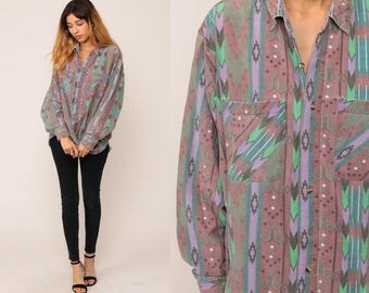 Southwest Shirt Tribal Shirt Button Up Southwestern Shirt 80s AZTEC Top Boho 90s Vintage Long Sleeve Purple Red Extra Large xl