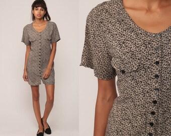 Vintage Maternity Blouse 90s Button Up Shirt Floral Top Short Sleeve Top Grunge Boho 1990s Vintage Bohemian Small Medium