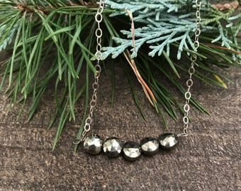 Pyrite and Sterling Silver Necklace