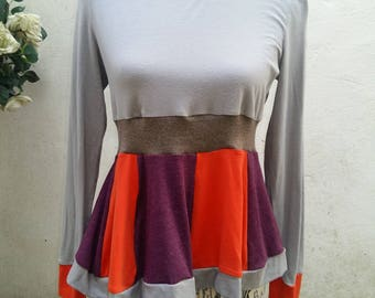 Upcycled Smock Tunic Top Recycled Mix Fabric Size Small/ Med