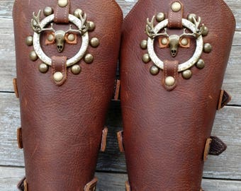 Brown Bracer Pair Armor Ren Faire SCA with Antiqued Brass Deer Skull and Incised Antiqued Brass Ring & Spots