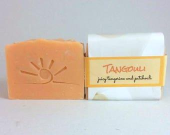 ORANGE Tangerine Patchouli Soap /Cold Process - All Natural Soap / TANGOULI