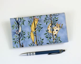 Cats Blue Checkbook Cover with Pen Holder and optional duplicate check flap, Cat Check Book, Cheque Book Cover