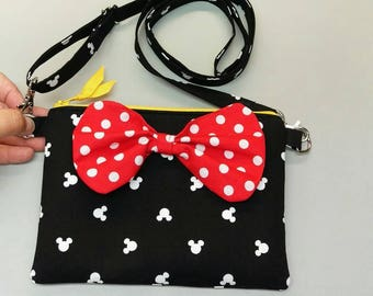 Minnie Mouse cross body bag with bow, handmade