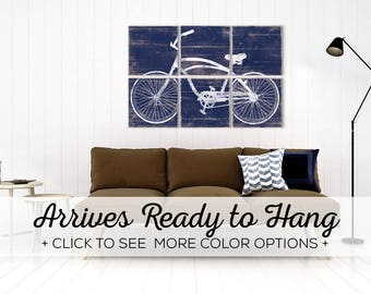 Distressed Vintage Beach Cruiser Bike Print - Bicycle Print on Wood - Large Bicycle Wall Art