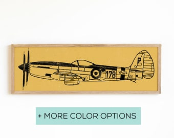 Vintage Fighter Airplane Sign - Airplane Print on Wood - Boys Room Wall Art