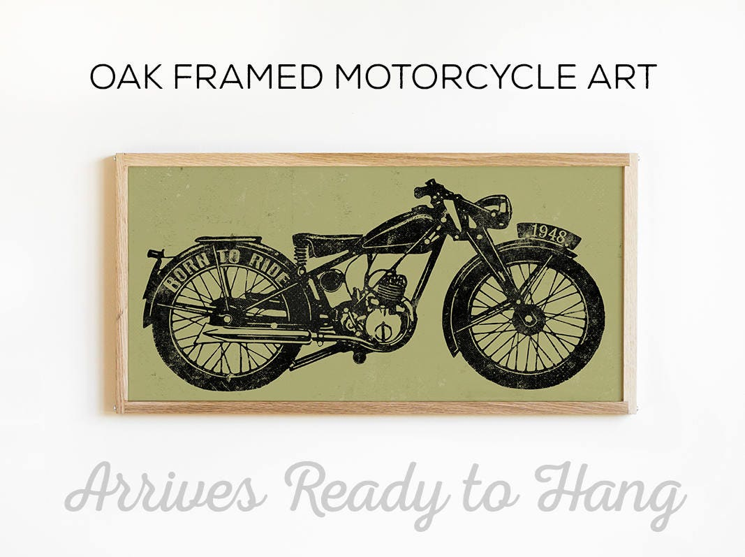 motorcycle wall art vintage motorcycle print custom wall. Black Bedroom Furniture Sets. Home Design Ideas