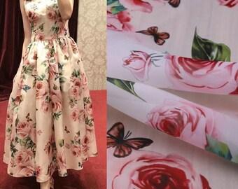 Pink Rose Flowers Printed Organza Fabric, Women Dress Organza Crisp Fabric Tissus, Polyester Transparent Clothing Tissu au Metre