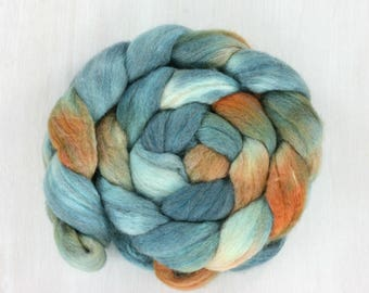 BFL/SILK Handpainted Roving Combed Top :Koi Pond
