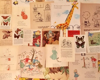 THIRTY Vintage Childrens Book Pages for Altered Art - Scrapbooking - Ephemera