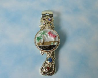 1959 Gold tone with AB Rhinestones and Pink Flamingo and Palm Trees, Florida Can/ Bottle Opener