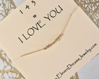 Secret message 143 I Love You Necklace . Gold Bead Dainty necklace. Meaning. Hidden message. Gift. Mother's Day. Morse code