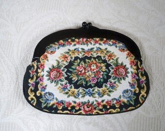 Vintage Purse Tapestry Clutch Make-up Bag Hand Made Japan