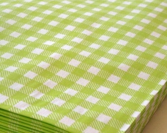 25% Off Summer Sale Set of 50 - Lime Gingham Flat Paper Merchandise Bags - 8.5 x 11 Inches - Gifts, Packaging, Retail