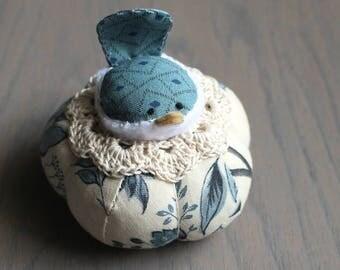 Blue Floral Bird Pincushion Cute Bird Pin Cushion Rustic Blue  Pin Cushion