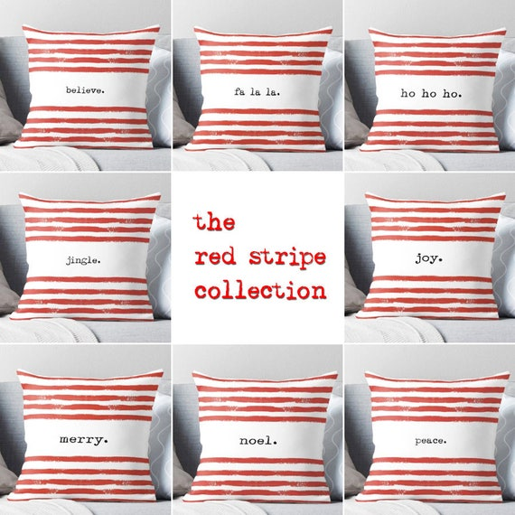 red stripe Christmas pillow cover, holiday, typography, text, seasonal, home decor, jingle,believe,peace,joy,noel