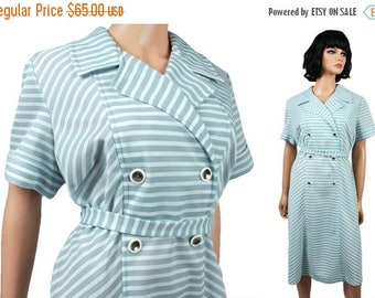 ON SALE Vintage Disco Dress XL 70s Gray Blue White Striped Chevron Silver Button Plus Sz Free Us Shipping