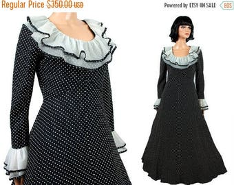 ON SALE 50s 60s Cocktail Dress S - Vintage Long Black White Polka Dot Chiffon Prom Formal Gown Size Small Free Us Shipping