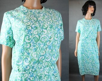 Vintage 60s Dress Sz L Blue Green White Crepe Swirl Short Sleeve Cocktail Gown Free US Shipping